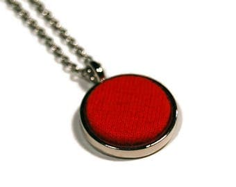 """Red Fabric Swatch 3/4"""" Pendant Necklace - Repurposed Materials - Ready to Ship"""