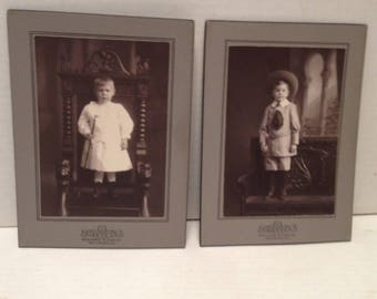 2 Vintage Photos of Children on a Chair