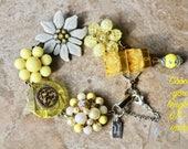 Bridesmaid Gift, Vintage Earring Bracelet, Charm, Yellow, Pearl, Silver, White, Flower, Boho, Edgy, upcycled, Jennifer Jones OOAK - Lemonade