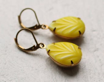 Lemon Meringue Earrings ... Yellow Neon Citrus