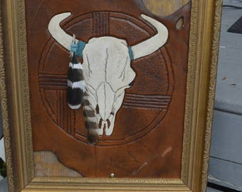Western, South Western, Rustic, Hand carved leather wall hanging, Rustic decor