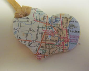 Racine, Wisconsin Heart Ornament -- Atlas, Upcycled