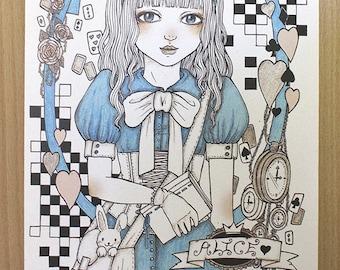 Alice in wonderland A5 size print