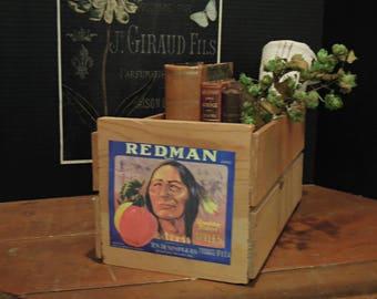 Vintage Wood Apple Crate Storage Box / Industrial Nailed Corner Box / Red Man Label / Vintage Rustic Wood Crate / Wooden Storage Box