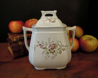 Vintage Ironstone Canister Pot and Lid / England / 1800s / Brown Transferware Ironstone / Alfred Meakin  / Large Sugar Bowl  / Pink Flowers