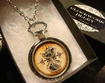 Cat over Compass- Pocket Watch Style Pendant Necklace (2421)