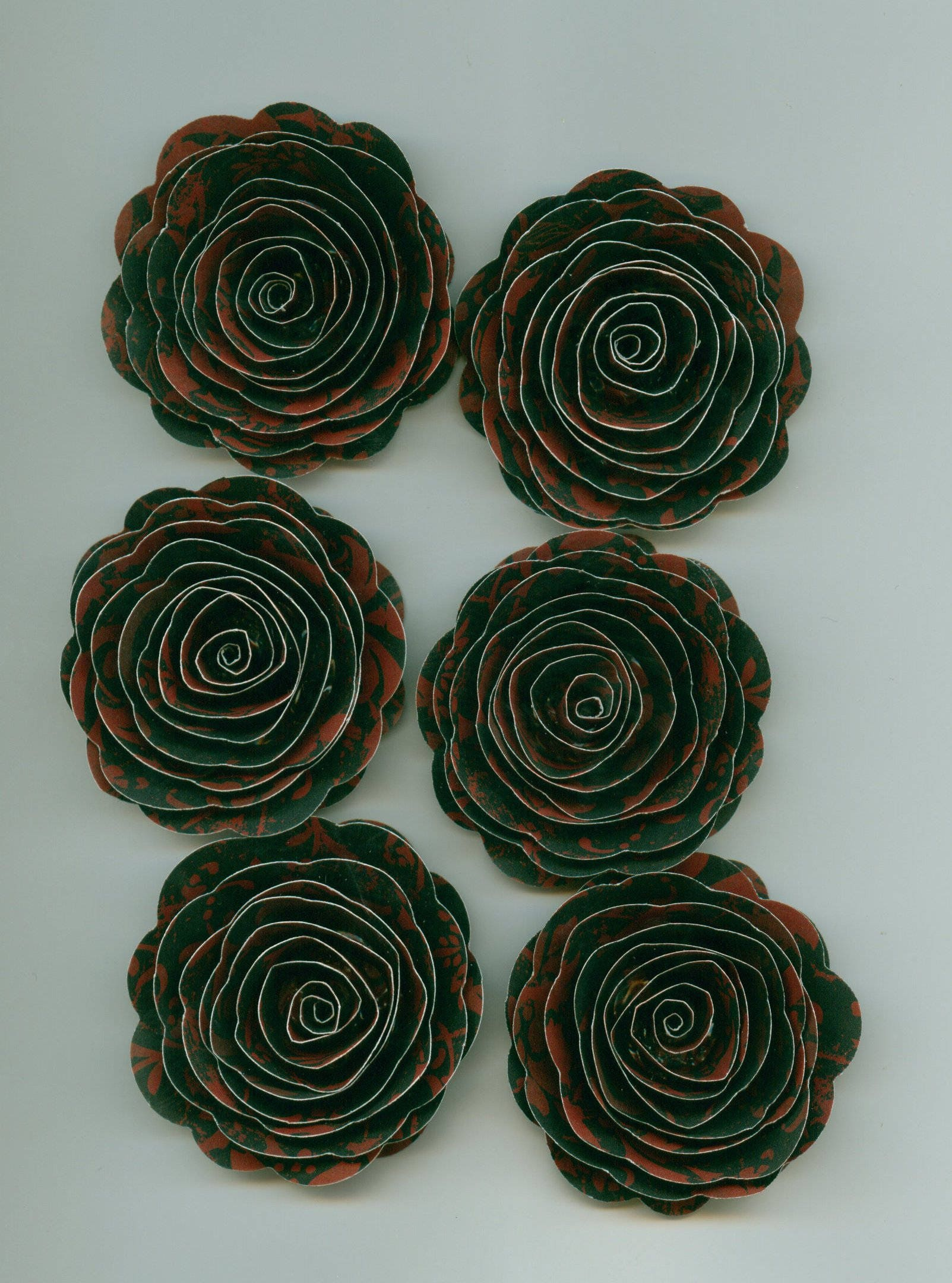 Gothic Red And Black Damask Rose Spiral Paper Flowers Red And Black