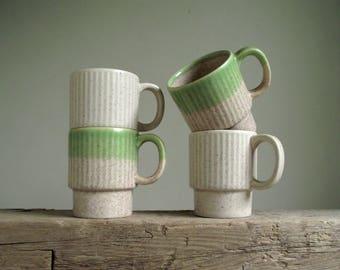 Stacking Mugs , Set of 4 Stackable Mugs , Vintage Coffee Mugs , Made in Japan Mugs , Retro Kitchen Decor
