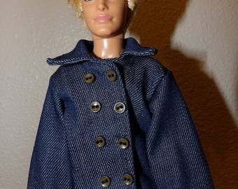 Denim blue jean jacket with buttons for male fashion dolls - kdc104