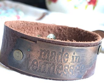 Made in Tennessee etched copper Leather cuff Bracelet