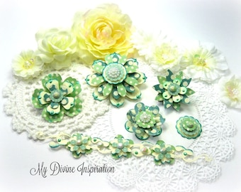 MME Now & Then Green and Ivory Handmade Paper Embellishments, Paper Flowers for Scrapbook Layouts Cards Tags Mini Albums and Paper Crafts