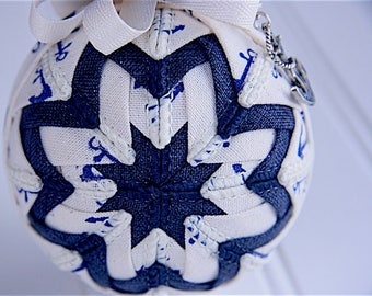Quilted Christmas Ornament Ball/Navy and Linen - At Sea