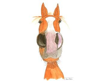 Horse face art print, farm animal mugshot picture, nosey pony, watercolor painting illustration, barnyard, nursery art, chill stallion