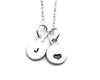 Mini Initial Necklace with Heart, Sterling Silver, Tiny Initial, Hand Stamped Jewelry, Heart Necklace, Letter J Necklace, All Letters Avail
