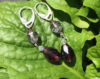 Faceted purple glass droplets with crystal catherdral bead earrings