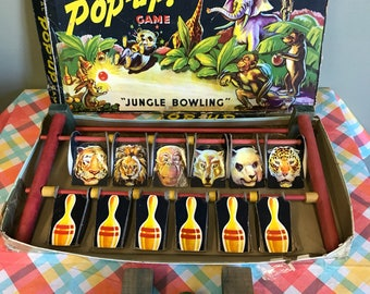 1942 Animal Pop Up Jungle Bowling Game in Box