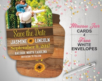 Sunflower Save the Date Cards, Country Mason Jar shaped cards, Photo Save the dates, engagement -- 10 die cut printed cards with envelopes