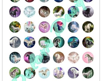 Plate 25 mm, Unicorn, Collage, Digital images - Unicorn - for round cabochons 25 mm