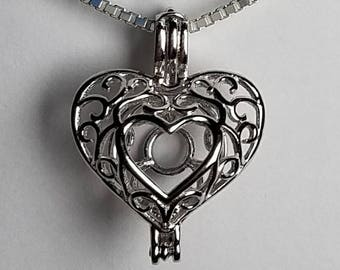 Sterling Silver Heart Cage Pendant with Crystals