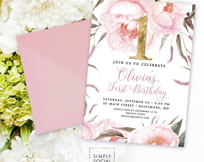 Pink Floral First Birthday Invitation - First Birthday 1st Birthday Rose Peony Blush Faux Gold Foil Boho Watercolor Printable Invite