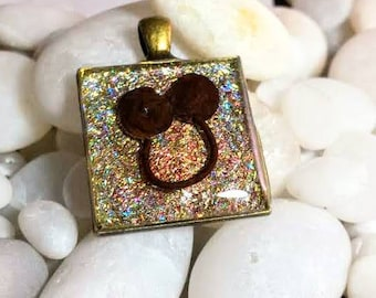 Hand Layered Desert Holographic Gold Holographic Glitter Enamel Smiling Face Upcycled Reclaimed Treasures Resin Pendant Life After Discard