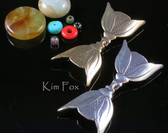 Art Deco Inspired Hook and Eye Clasp by Kim Fox in Golden Bronze and Sterling Silver -