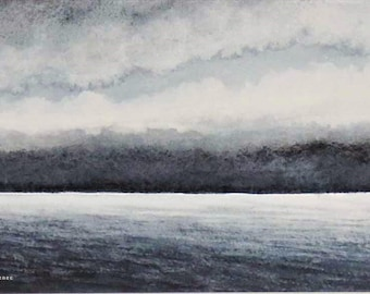 Original watercolour painting storm clouds gathering over the ocean