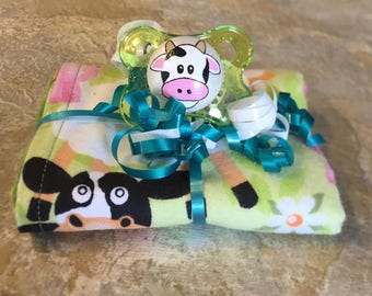 Moo Cow Farm Animal Green Reversible Burp Cloth & Pacifier Gift Set by PiquantDesigns