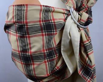 Baby Ring Sling Carrier / Sling / Carrier / Unpadded / Tartan with Beige / Handmade / Made in UK