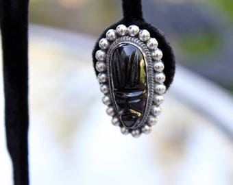 Mexican Sterling Earrings with Black Onyx, ca. 1940s