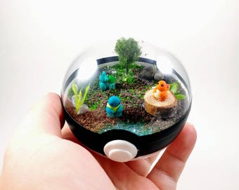 Starters Pokemon Pokeball Terrarium - Miniature Pokemon - Pokemon Terrarium - Fairy Garden - Forest Environment