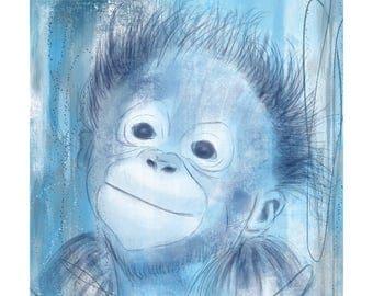 12x16 Inch Nursery Print - Monkey, Blue