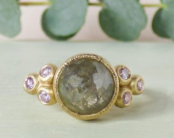 Ethical Engagement Ring - Rose Cut Diamond Ring - Solitaire Diamond - One of a Kind Ring - Handmade Ring - Conflict Free Diamonds