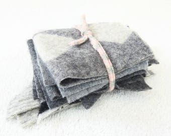 Cashmere Scrap Pack Destash ASSORTED GRAY Felted Sweater Cashmere Wool Fabric Scraps Craft Supplies Sewing Patchwork WormeWoole