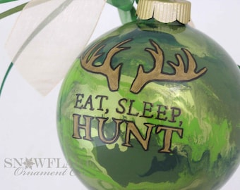 Camouflage EAT, SLEEP, HUNT Custom Christmas Ornament - Personalized Glass Gift