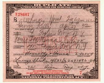 4/27 1932 George Kelly Prohibition Whiskey Prescription Vintage Doctor Pharmacist Lorenzo Bar Rx Pharmacy Speakeasy Troy New York NY Gift