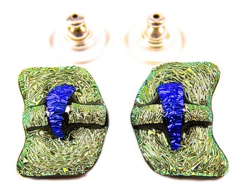 "Dichroic Studs Earrings - Yellow Gold Chartreuse & Sapphire Blue Fused Glass Abstract Wavy - Crinkle Post Stud or Clip On - 1/2"" 12mm"