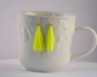 Neon Yellow Green Thread Tassel Earrings