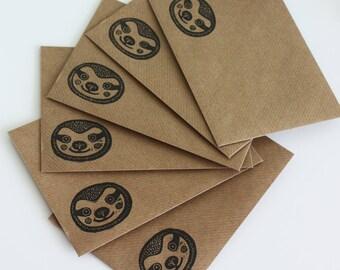 Set of 6 A6 Envelopes, Sloth, Original Hand Printed Envelopes, Handcarved Stamp, Brown Kraft Card, Free Postage in UK,