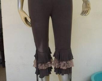 20%OFF yoga pants, bohemian pants, bloomers, 3,4 pants, tights, lagenlook, mori girl, gym pants, leggings, 3/4 leggings,ruffled pants,FREE S
