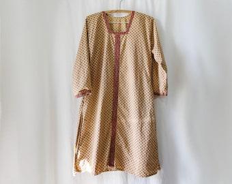 Indian Cotton Caftan, Blockprint Tunic Dress