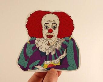 it stickers laptop labels tags stephen kings clown illustration