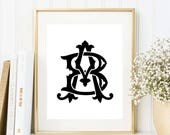 Custom Two Letter Monogram Any Size, Personalized prints, Wedding Invitation, Custom Printable, Art Print, Name Family