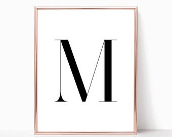 SALE -50% Letter M Monogram Alphabet Name Digital Print Instant Art INSTANT DOWNLOAD Printable Wall Decor