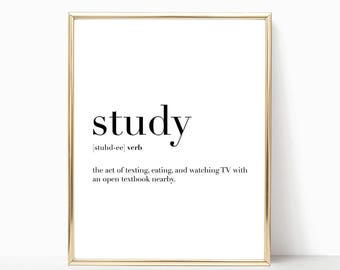 SALE -50% Study Quote Definition Print, Dorm Poster, College Student Gift, Digital Print Instant Art INSTANT DOWNLOAD Printable Wall Decor