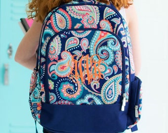 FREE monogramming - Personalized Monogrammed Full sized Embroidered Emerson Paisley Backpack Bookbag