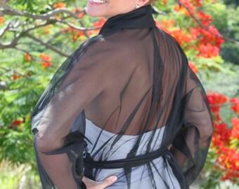 SALE Black Sheer Kimono Jacket