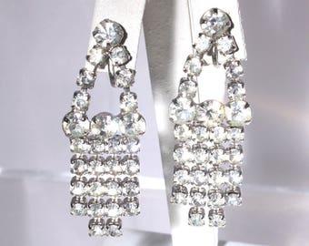 White Rhinestone Dangle Earrings, Mid Century, Bridal Jewelry, Vintage Wedding, Wedding Jewelry, Prom Earrings, Dressup, Vintage