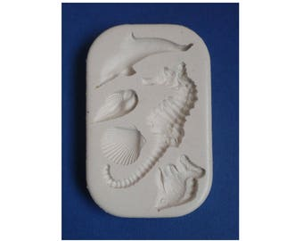 Moule silicone thème mer océan hippocampe coquillage dauphin poisson