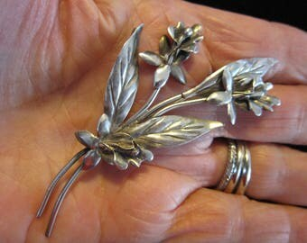 Vintage Sterling Silver CORO Flower Brooch- Pegasus Flying Horse Mark Excellent -Boxed